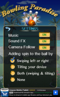 Bowling Paradise Pro FREE - Settings Menu