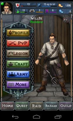 Dawn of the Dragons - Profile menu