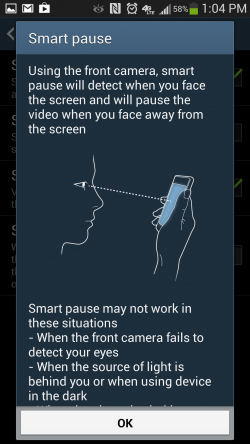 How to use Smart Pause for video on Samsung Galaxy S4