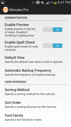 Minutes Text Notes Pro plus Sync - Settings
