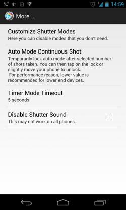 PerfectShot - Extra settings