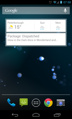 Widget on Homescreen