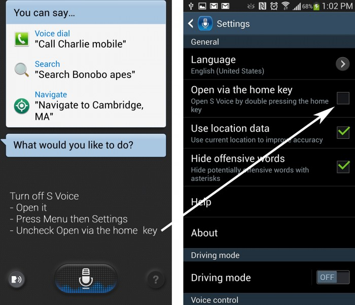Turn Off S Voice Open Via Home Key on Samsung Galaxy S4