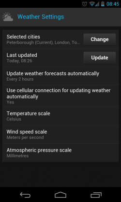 Yandex.Shell - Weather settings