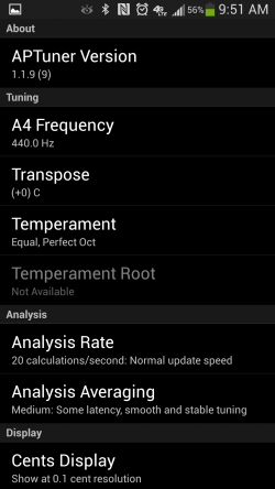 APTuner – Chromatic Tuner. Settings