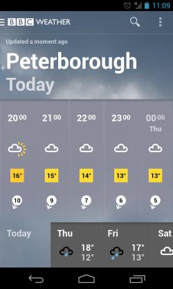 BBC Weather - Hourly forecast