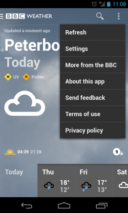 BBC Weather - Menu