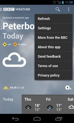 BBC Weather - Menu