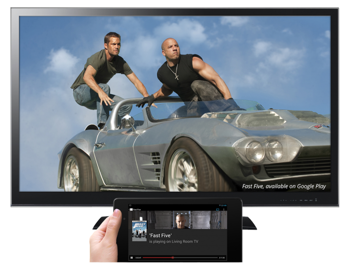 Chromecast Controlling TV with Tablet viewing Play Google Movies