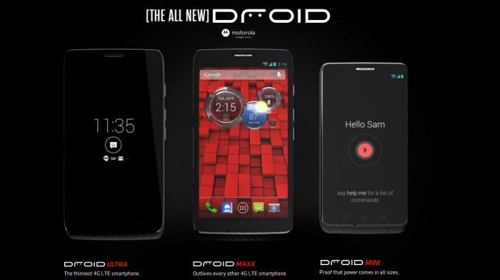 DROID MINI, DROID ULTRA & DROID MAXX by Motorola hits Verizon