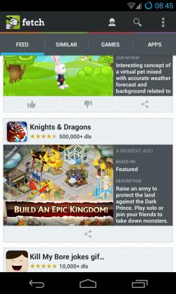 Fetch - Games feed