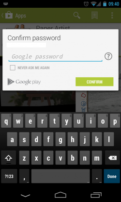 Google Play - Enter Password to Confirm Payment