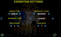 Flick Tennis - Exhibition settings
