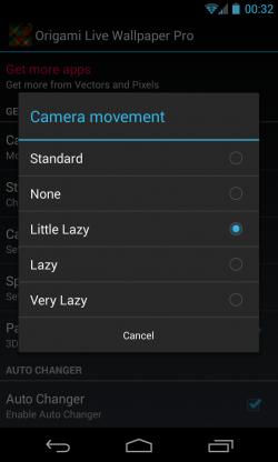 Origami Live Wallpaper - Camera movement adjust