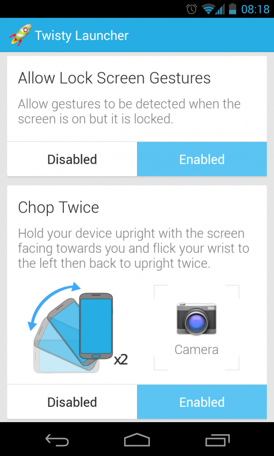 Twisty Launcher – quick launch apps Moto X style!