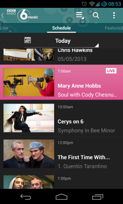 iPlayer Radio - Station schedule