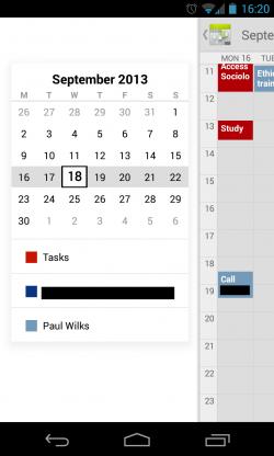Calendar++ - Slide out side panel for easier management and navigation