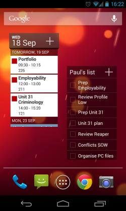 Calendar++ - Wiget choices