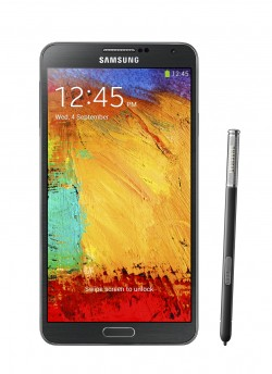 Galaxy Note 3 front with pen Jet Black