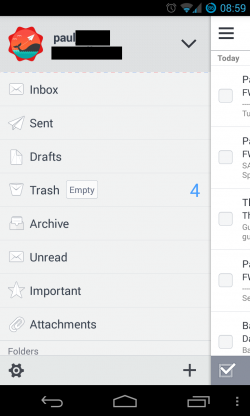 Solmail - Slide out menu