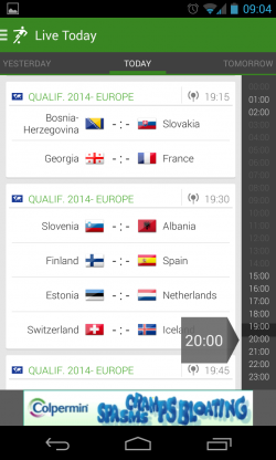 THE Football App - Scroll by kick off time