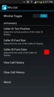 Who Dat Caller ID Lookup - Settings