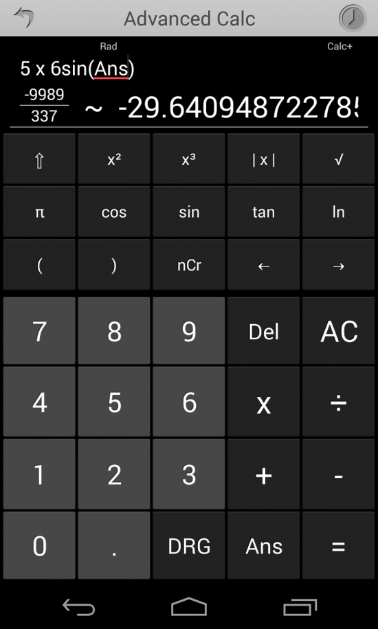 Calc+ an advanced calculator app