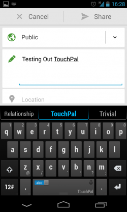 TouchPal X – Typing is fluid and simple to do