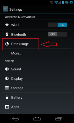 Data Usage Settings for Android