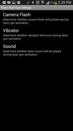 Taser Stun Gun - Settings