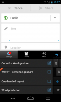 TouchPal X - Slide out settings