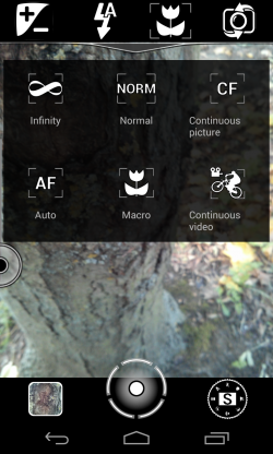 A Better Camera - In-view toggled menus