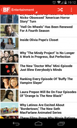 Buzzfeed - Entertainment section