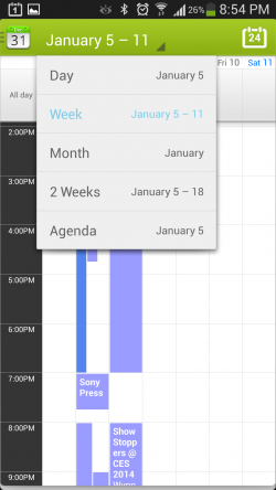 Calendar Plus - Menu Options