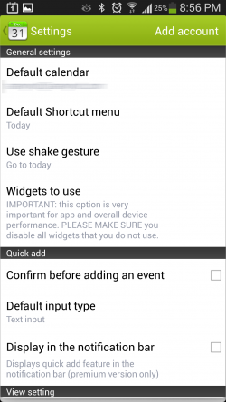 Calendar Plus - Settings