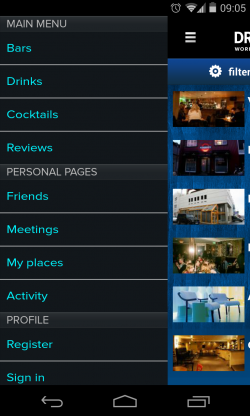Drink Advisor - Menu