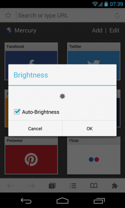 Mercury Browser - Brightess