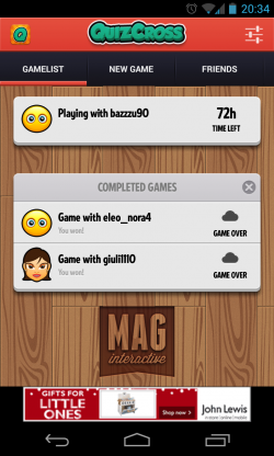 QuizCross - Games in play