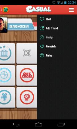 QuizCross - In game menu