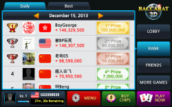 Baccarat 3D - Daily Top Ranks