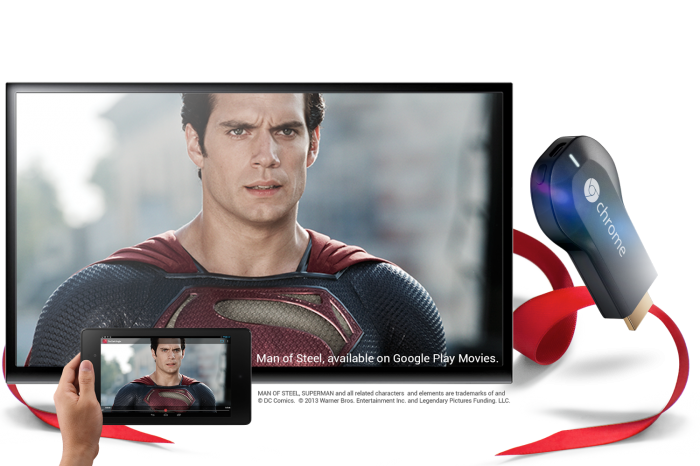 Chromecast Controlling TV with Tablet viewing Man of Steel