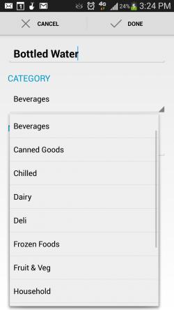 Grocery Sum Shopping List - Add List Item
