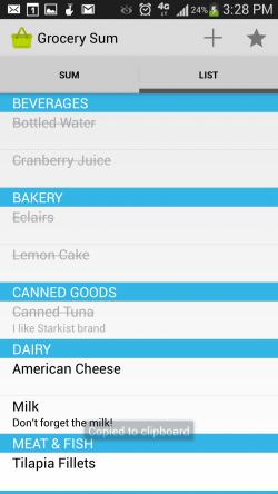 Grocery Sum Shopping List - List