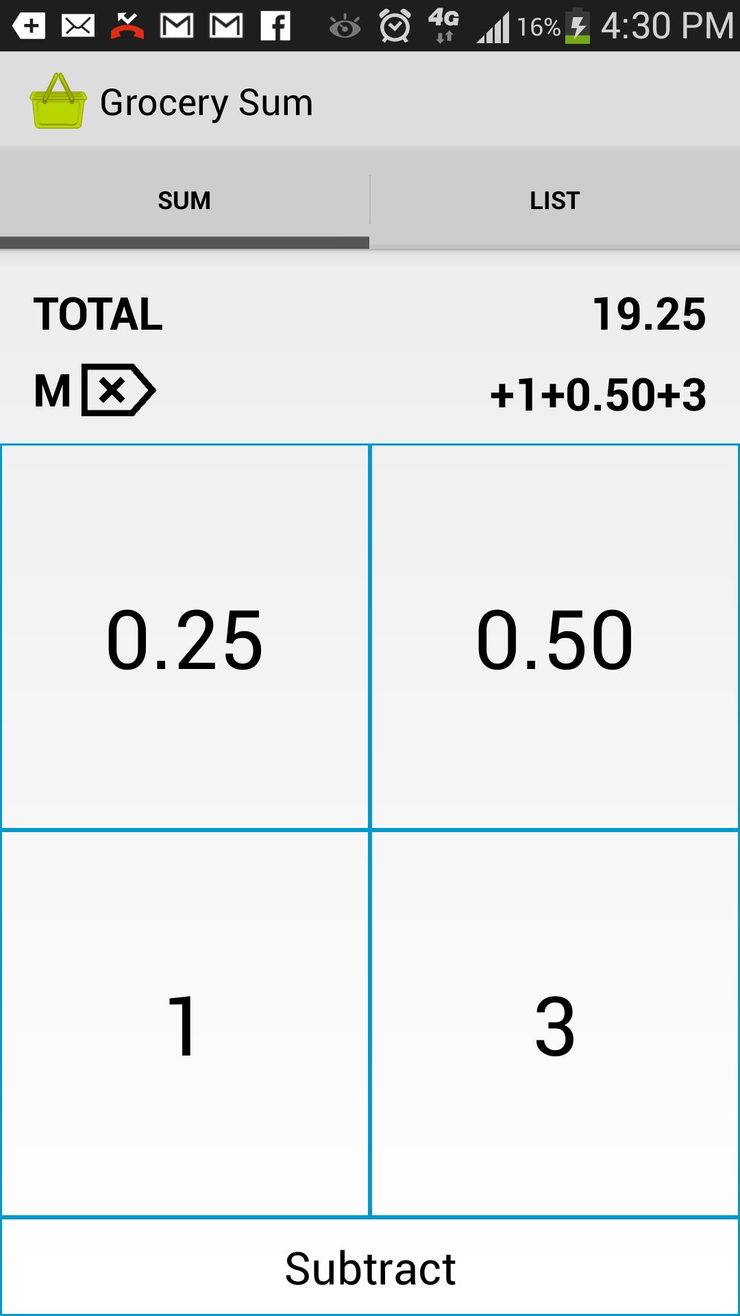 shopping list price estimator