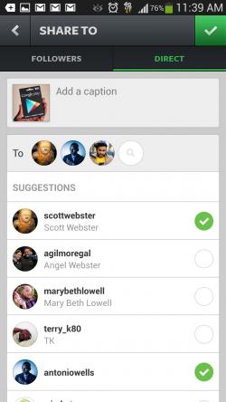 Instagram Direct - Attach Friends