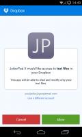 JotterPad X - Dropbox log in