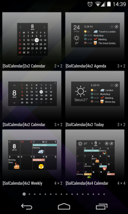 SolCalendar - Widget choices