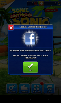 Sonic Dash - Can we have your Facebook log in please...