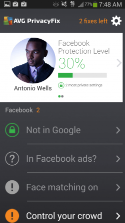 AVG Privacy Fix - Dashboard