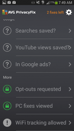 AVG Privacy Fix - Dashboard Options 2